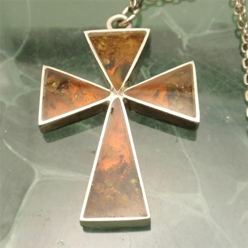 Amber cross pendant necklace sterling silver ebay religious amber cross pendant necklace sterling silver ebay mozeypictures Gallery