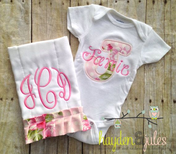 Applique initial baby bodysuit gift set monogrammed ruffle burp applique initial baby bodysuit gift set monogrammed ruffle burp cloth personalized negle Gallery