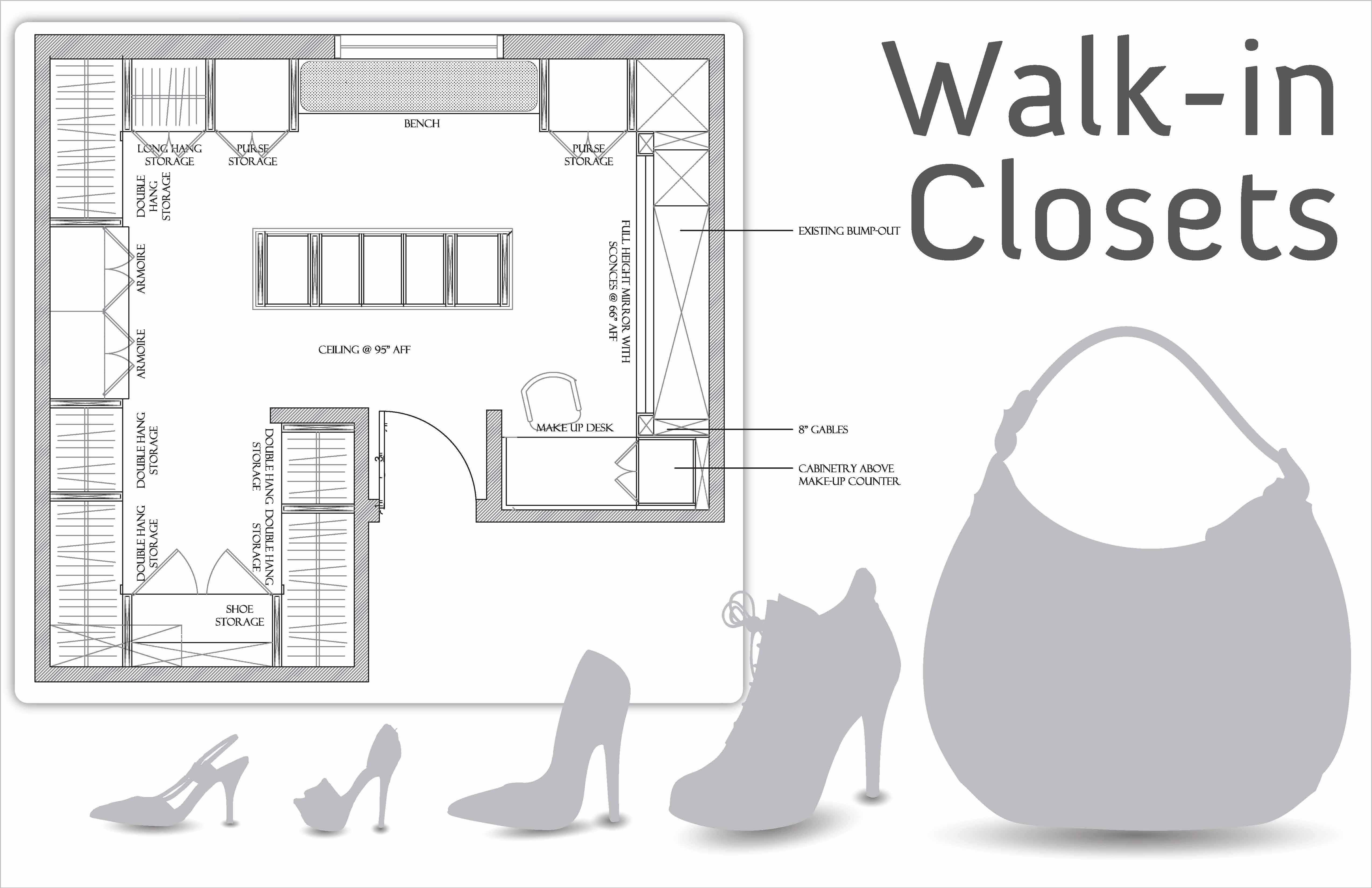 Minimum Bedroom Closet Depth Walk In Closet Dimensions Closet Layout Walk In Closet