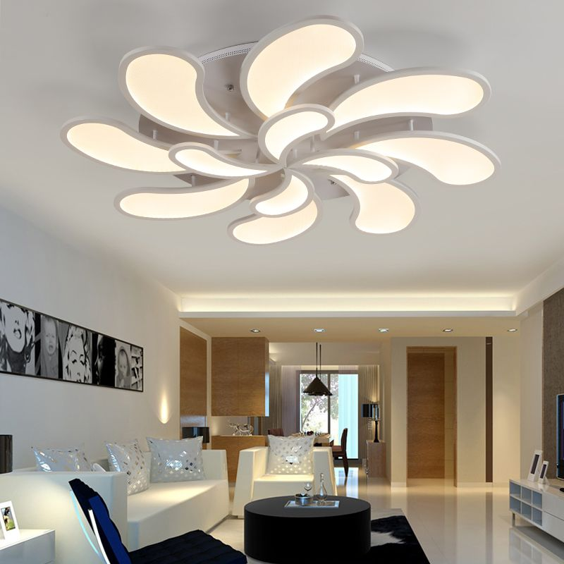 22 Cool Living Room Lighting Ideas And Ceiling Lights: Flower Acrylic LED Ceiling Light Modern Living Room