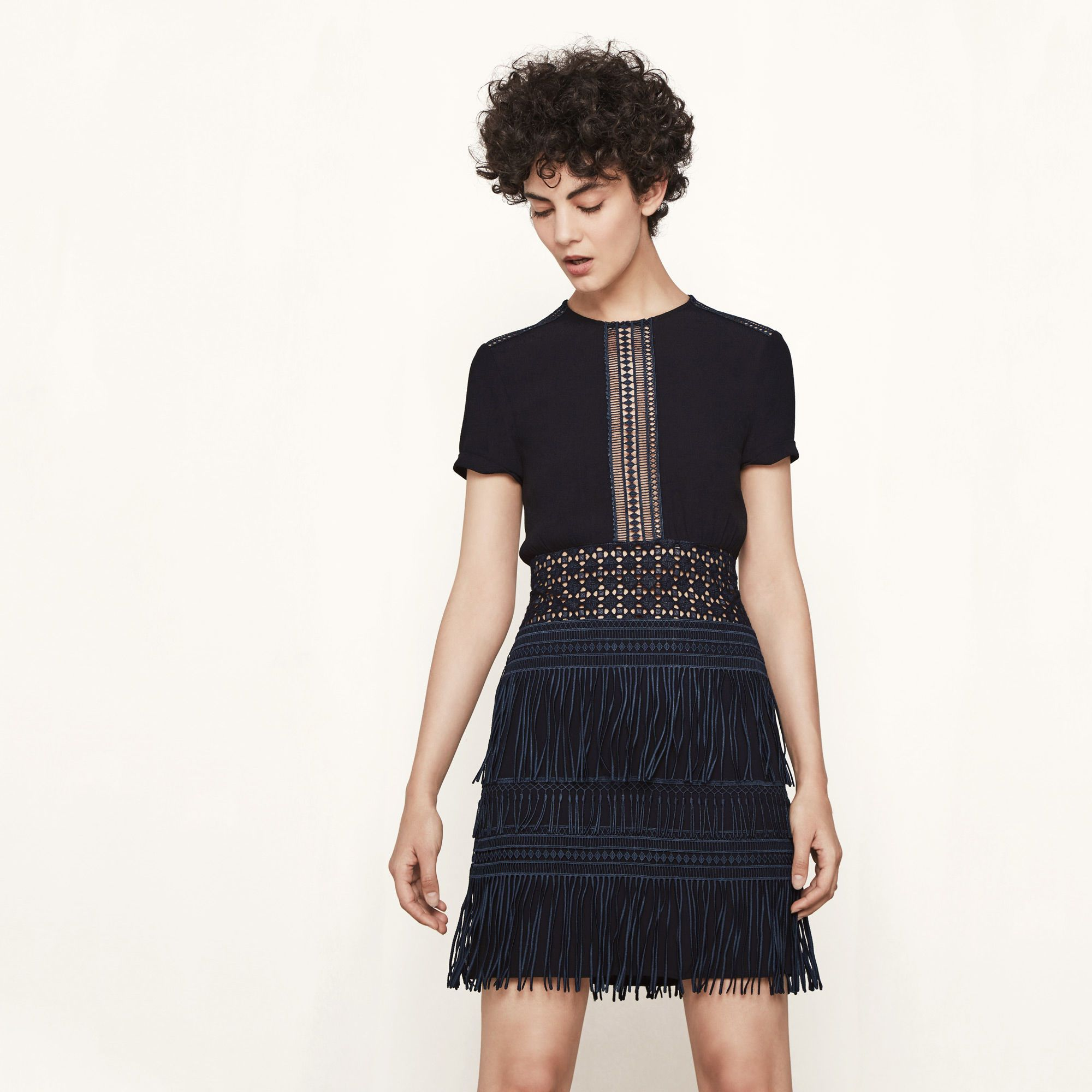 REIA Fringed dress with inlaid embroidery