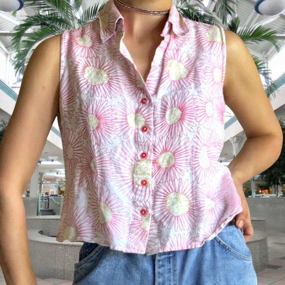 Vintage 90 S Flower Blouse Cute Vintage Top In Depop In 2020 Vintage Tops Flower Blouse Tops