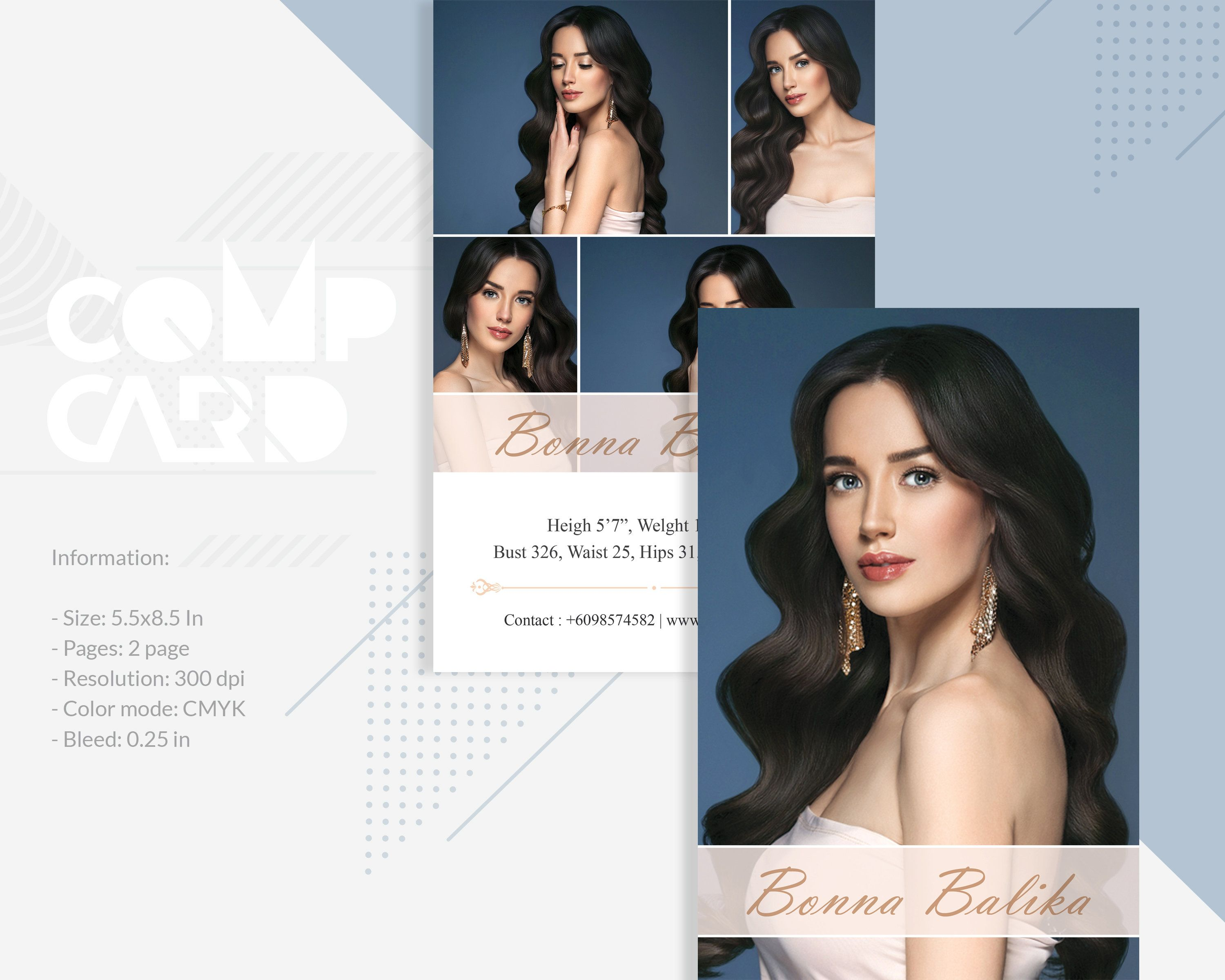 Modeling Comp Card Template Fashion Model Card Microsoft Word Photoshop And Elements Te Model Comp Card Minimalist Business Cards Printable Business Cards