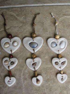 Wall Hangings Hearts With Shells Salt Dough Ornaments Basteln