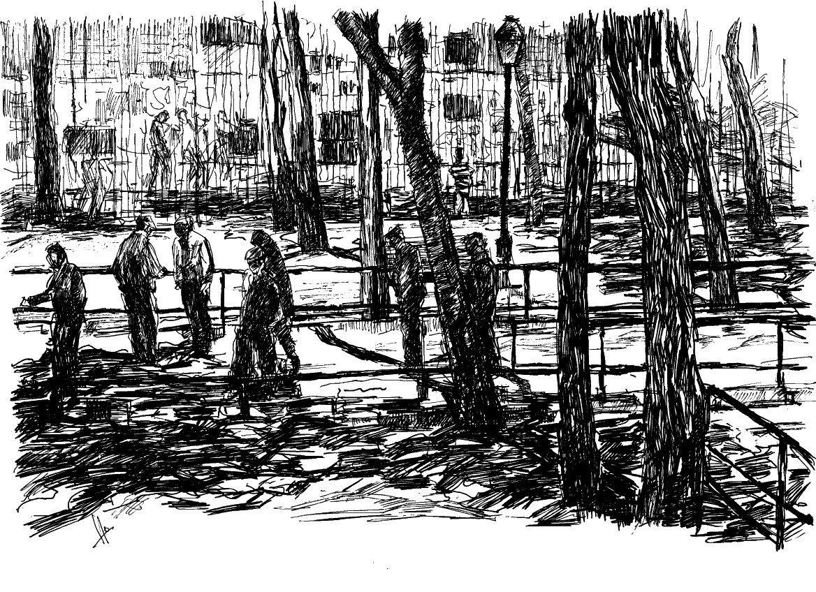 Mayores jugando a la petanca detrás del cuartel del Conde duque (madrid). Tamaño A4. Bolígrafo, pluma  y rotulador negros