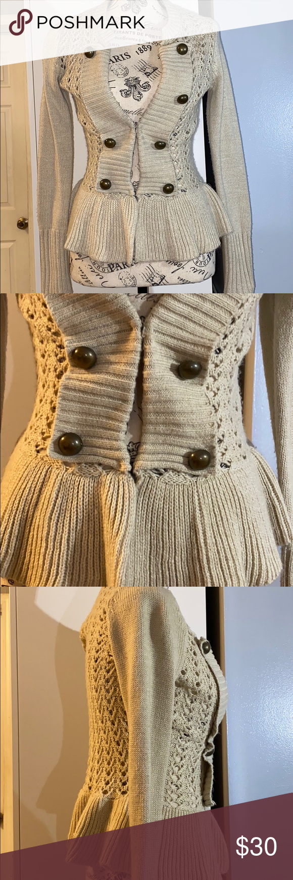 Crochet Peplum Sweater With Front Clasps In 2020 Peplum Sweater Fashion Clothes Design