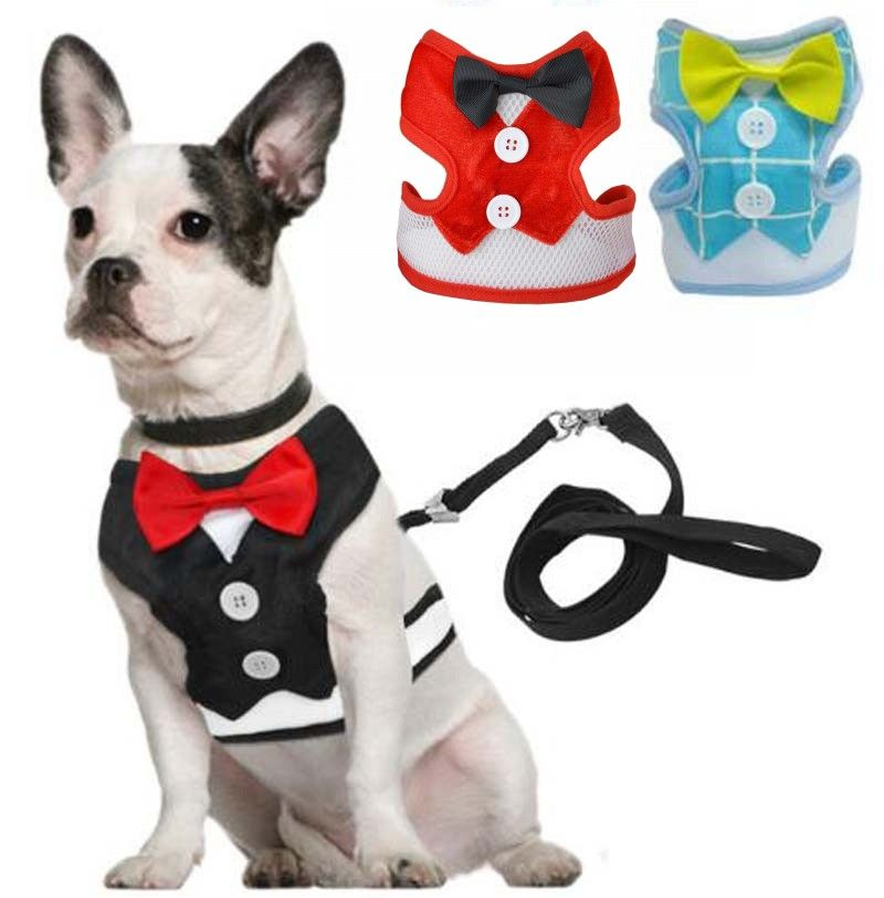 Pet Cat Dog Harness Vest With Leash Dog Tuxedo Collar For Small Cat