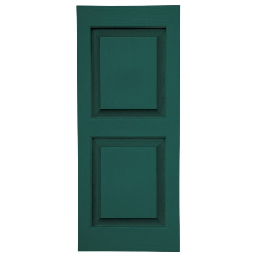 Severe Weather 2 Pack 15 In W X 63 In H Green Raised Panel Vinyl Exterior Shutters Lowes Com Shutters Exterior Vinyl Exterior Raised Panel