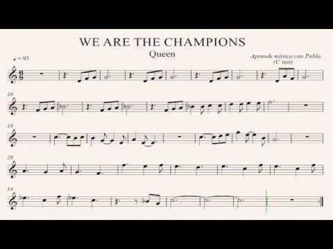 Resultat d'imatges de partituras WE ARE THE CHAMPIONS