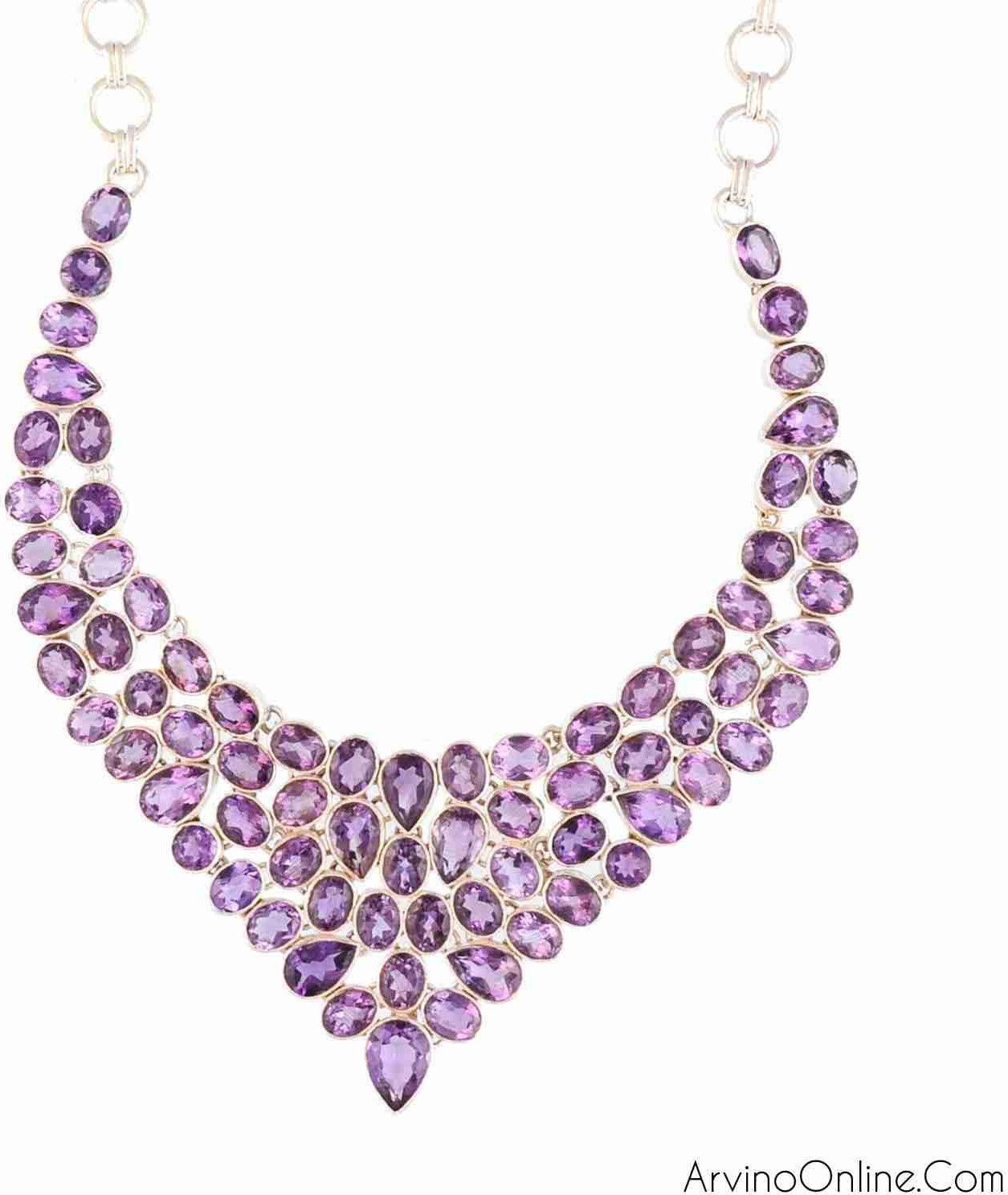 925 Sterling Silver Necklace With Amethyst Gemstone