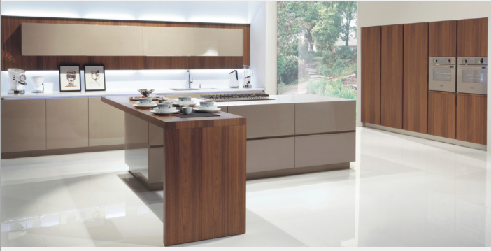 Modern elegant mix of high gloss lacquer and walnut veneer