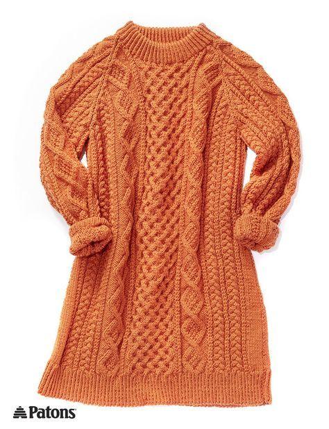 2a07710b8dfd4 Free knitting pattern for Honeycomb Aran Sweater Dress More