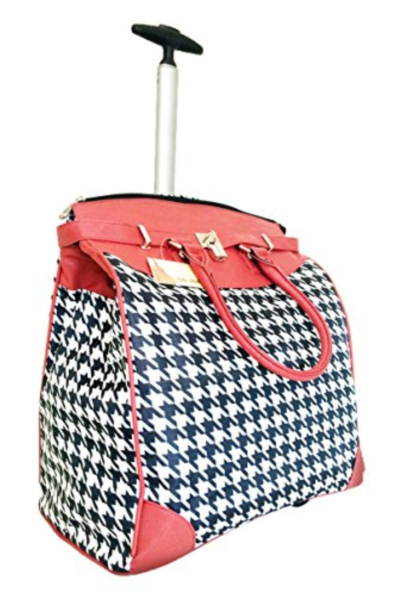 Trendy Flyer Computer Laptop Rolling Bag 2 Wheel Case Houndstooth Red Brought To You By Avarsha
