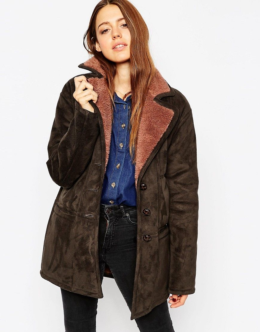 ASOS Coat In Faux Shearling with Panel Detail at