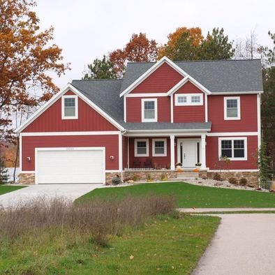 Jill Carlson We Used Crane Board Vinyl Siding And The Color Is Lighthouse Red Siding Colo Red House Exterior Outside House Colors Exterior House Siding