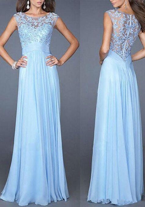 Blaue Spitze ärmellos Mode Prom Maxikleid Lang Abendkleid günstig ...