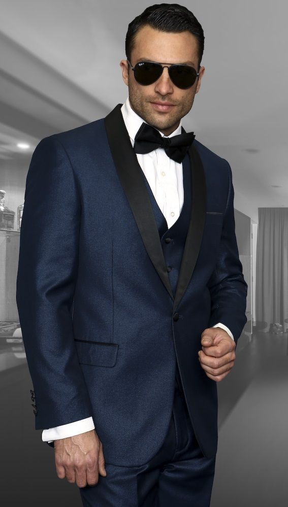 53aea93b0f9 Statement Wynn Mens 3 Piece Tuxedo Shiny Indigo Modern Fit Navy Blue Tux