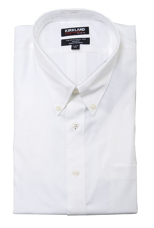6827dd8a984 Kirkland Signature Mens Traditional Fit Button Down Collar Dress Shirt-  White - C0184XK2ZGE