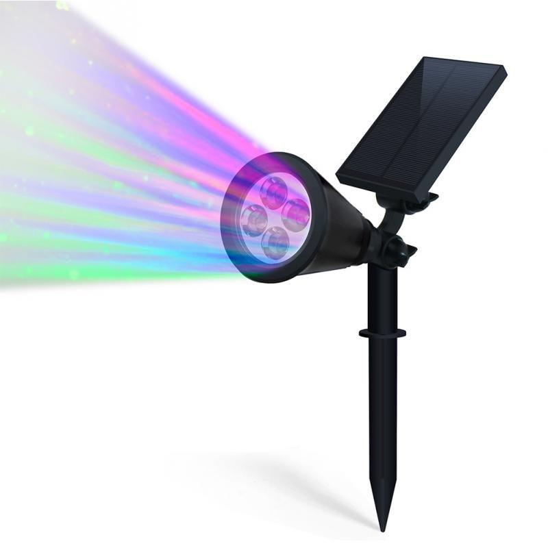 180 Degree Rotating Spotlights LED Solar Outdoor Spotlight Wall Light  Changing Color Lamps Garden Decorative Lights