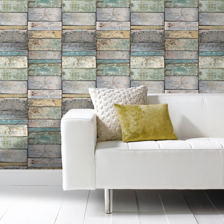 GranDeco Wood Wallpaper In Teal The Range Walls Pinterest