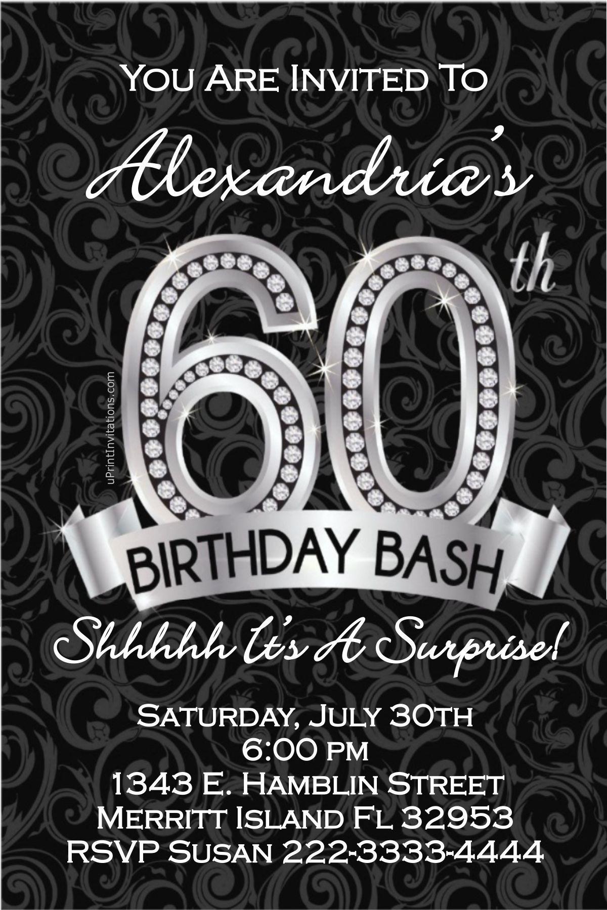 60th Birthday Invitations - Digital Download - Get these invitations ...