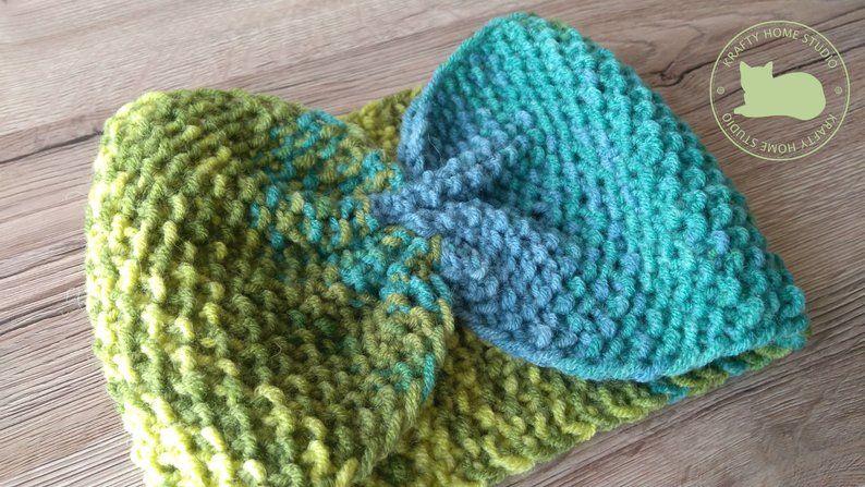 Knit Wool Ear Warmer Rambouillet Merino Naturally Dyed Headband GreeN Wool Ear warmer