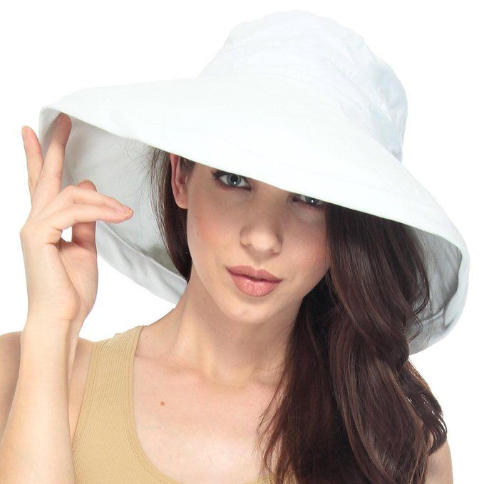 Black Womens Packable Beach Summer Sun Hat Cotton Bucket Hat with Strap UPF50