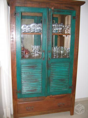 Cristaleira Armario De Madeira Demolicao Rustico Casa Armario