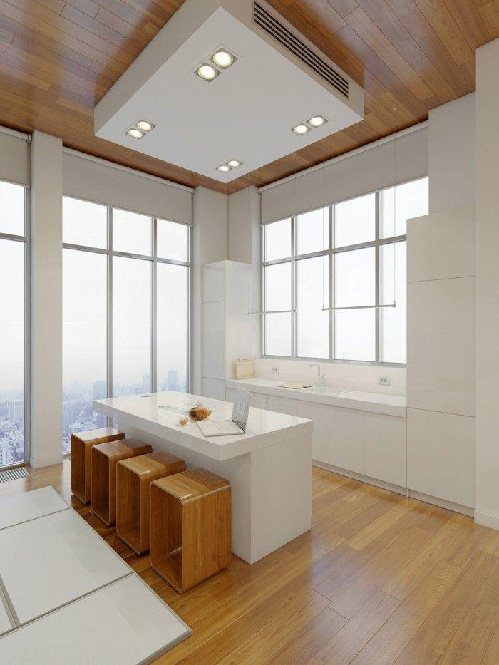 minimalistisch wohnen weiße küche schöne sitzgelegenheiten - k che mit sitzgelegenheit