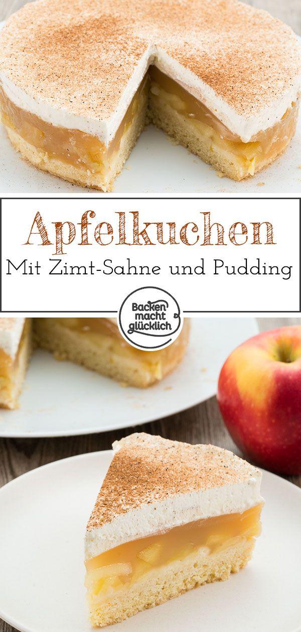 Apfeltorte mit Sahne und Zimt | Backen macht glücklich #süßesbacken