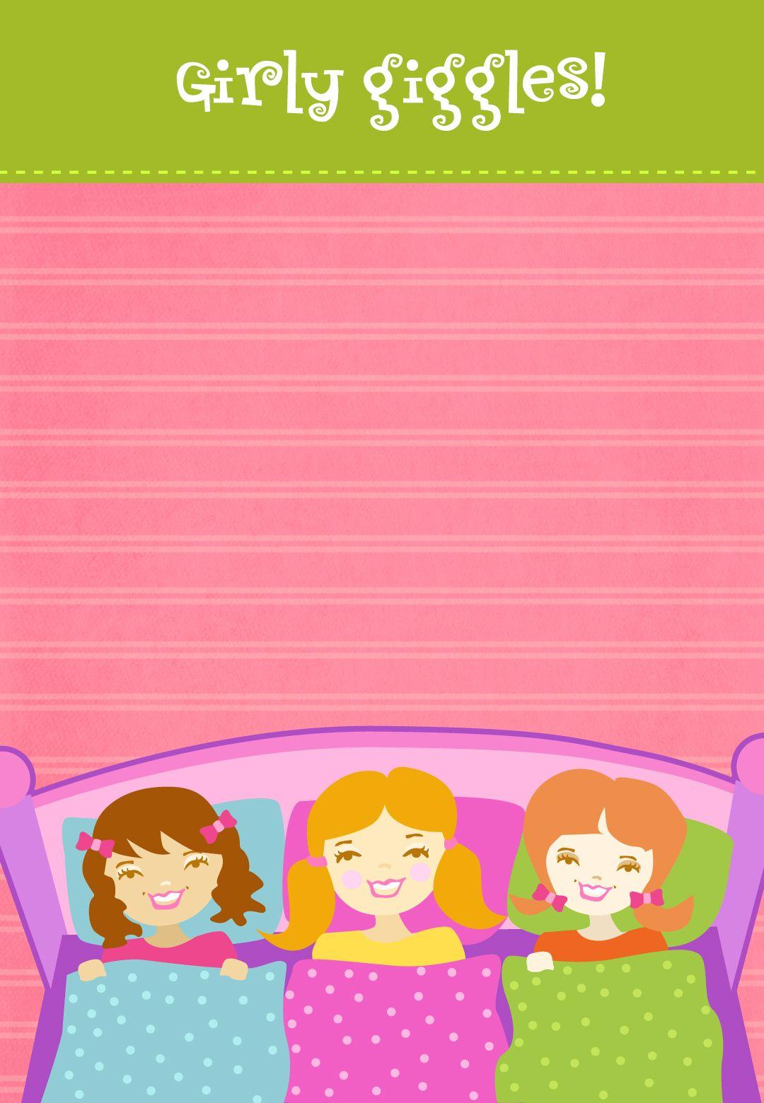 Free Printable Girly Giggles Invitation | 11111 | Pinterest | Free ...