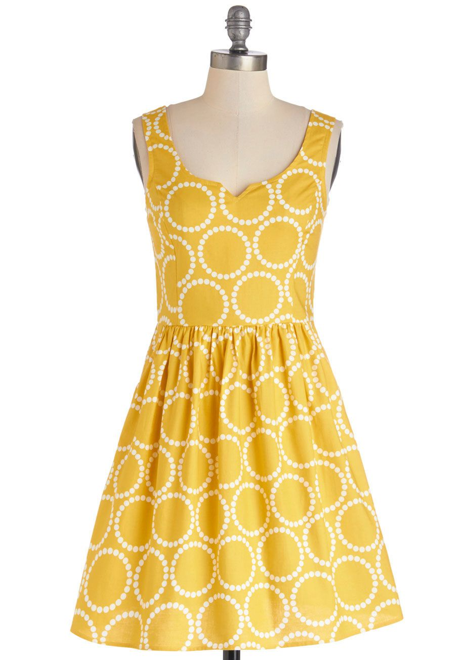 Heart and solar system aline dress modcloth cotton and gold