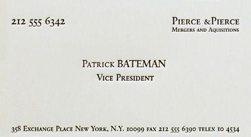 Patrick Bateman Card My Confined Space American Psycho American Pyscho American