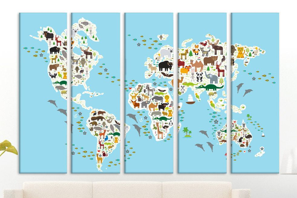Nursery world map animal world map canvas world map push pin framed nursery world map animal world map canvas world map push pin framed kid world map world map canvas nursery world maps wall art wood wall art gumiabroncs Images