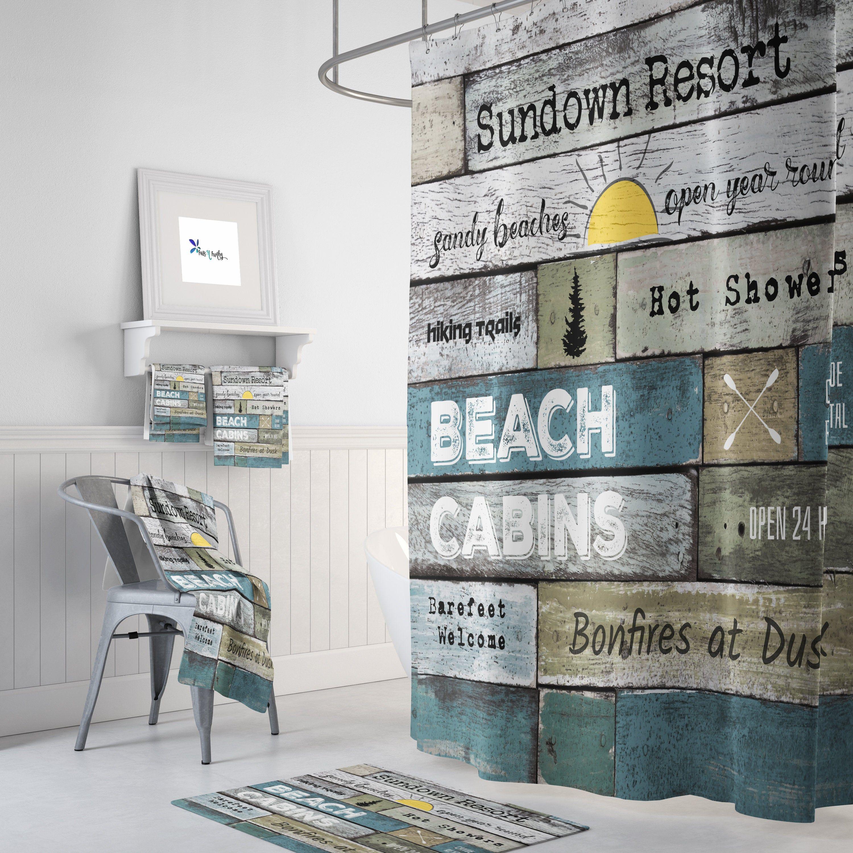 Rustic Shower Curtain Coastal Beach Theme Resort Advertising