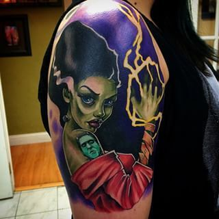 Color popping Bride of Frankenstein take by