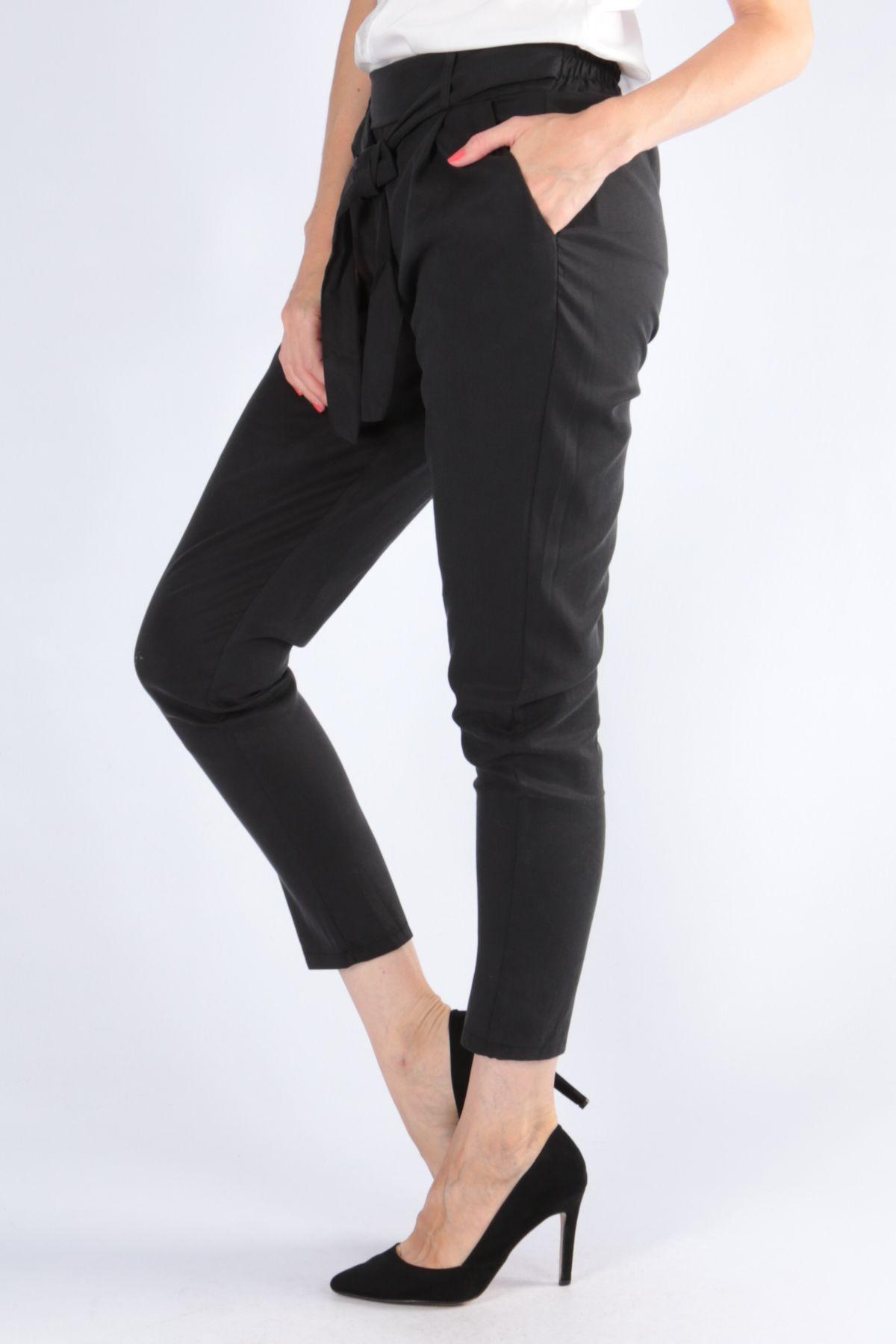 Dámske čierne nohavice s opaskom  6ed1fed334c