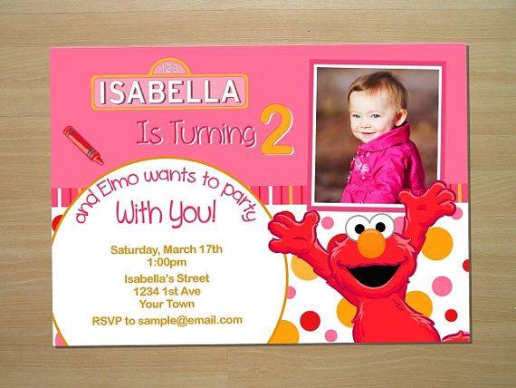 Elmo Pink Birthday Invitation Custom Printable by LilMimisDesigns