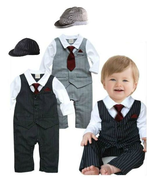 Baby Boy Formal Suit & Tie Toddlers Wedding Christening