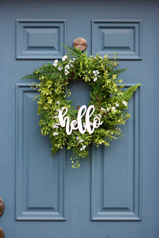 Hello Greenery Wreath Farmhouse Wreath With Hello Sign Etsy Farmhouse Wreath Greenery Wreath Wreaths