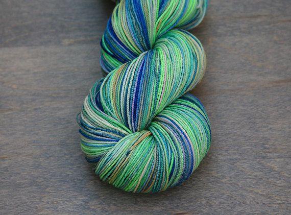 Hand Dyed Sock Yarn  Moon Glow  Cloud 9 superwash by AndreSueKnits