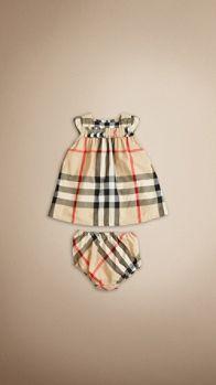 Cap Sleeve Check Cotton Dress | Burberry