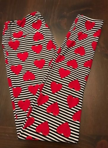 e3603d03f6c1c #ValentinesDay LuLaRoe Black and White Striped Hearts Leggings One Size OS  NWOT Valentine's Day #ValentinesDay