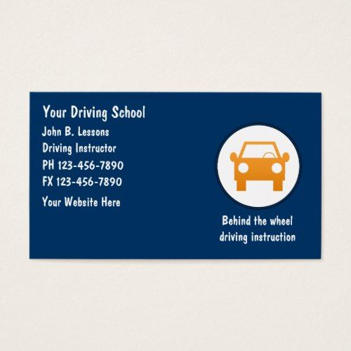 Driving School Business Cards Driving Instructor Driving School