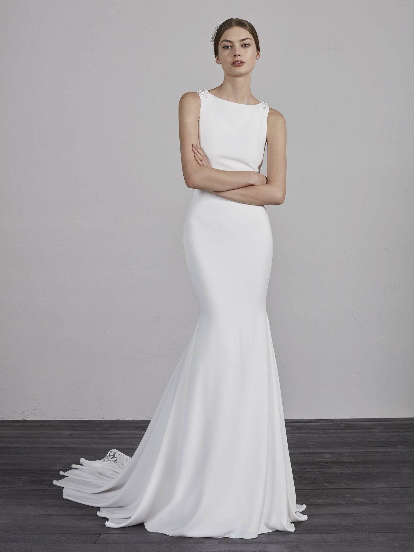 Bateau Neck Sleeveless Illusion Lace Back Mermaid Wedding Dress