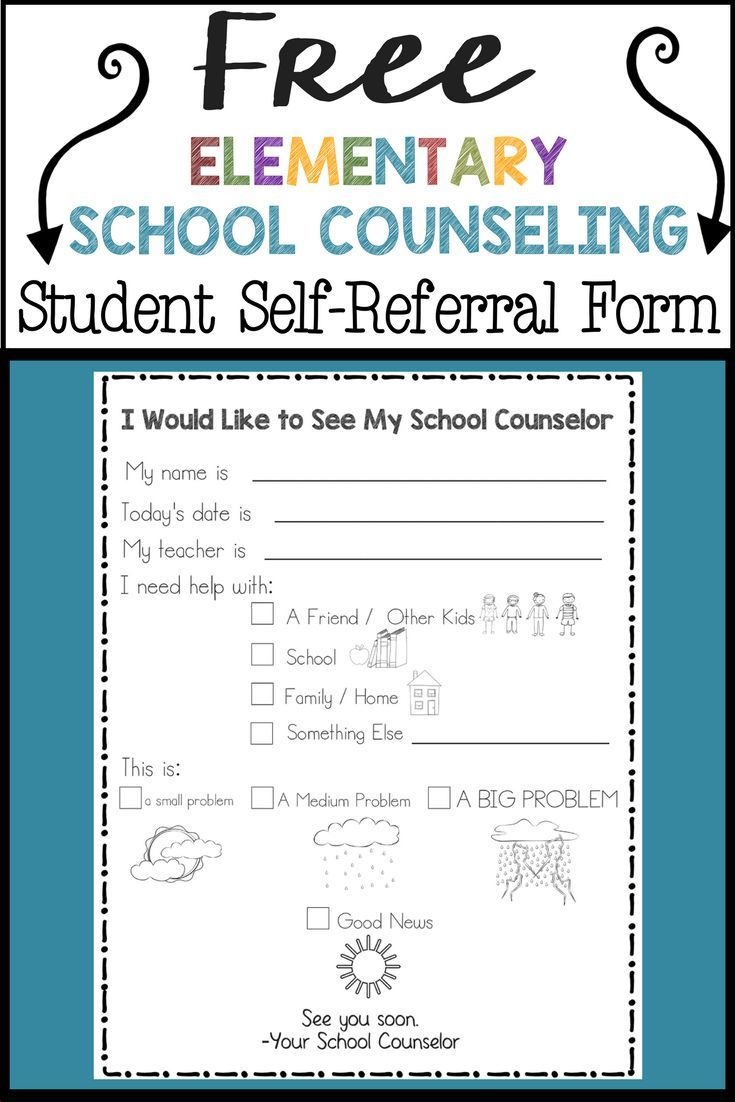 Free Elementary School Counseling Student SelfReferral Form