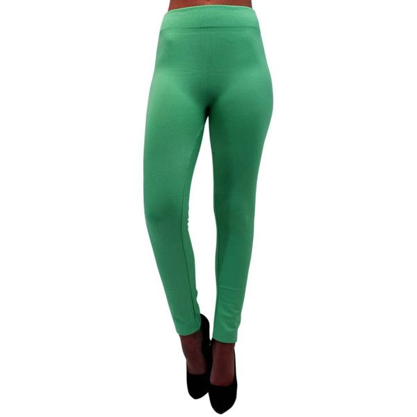 Mint Green Soft Fleece Seamless Footless Tights ($18) ❤ liked on Polyvore featuring mint green