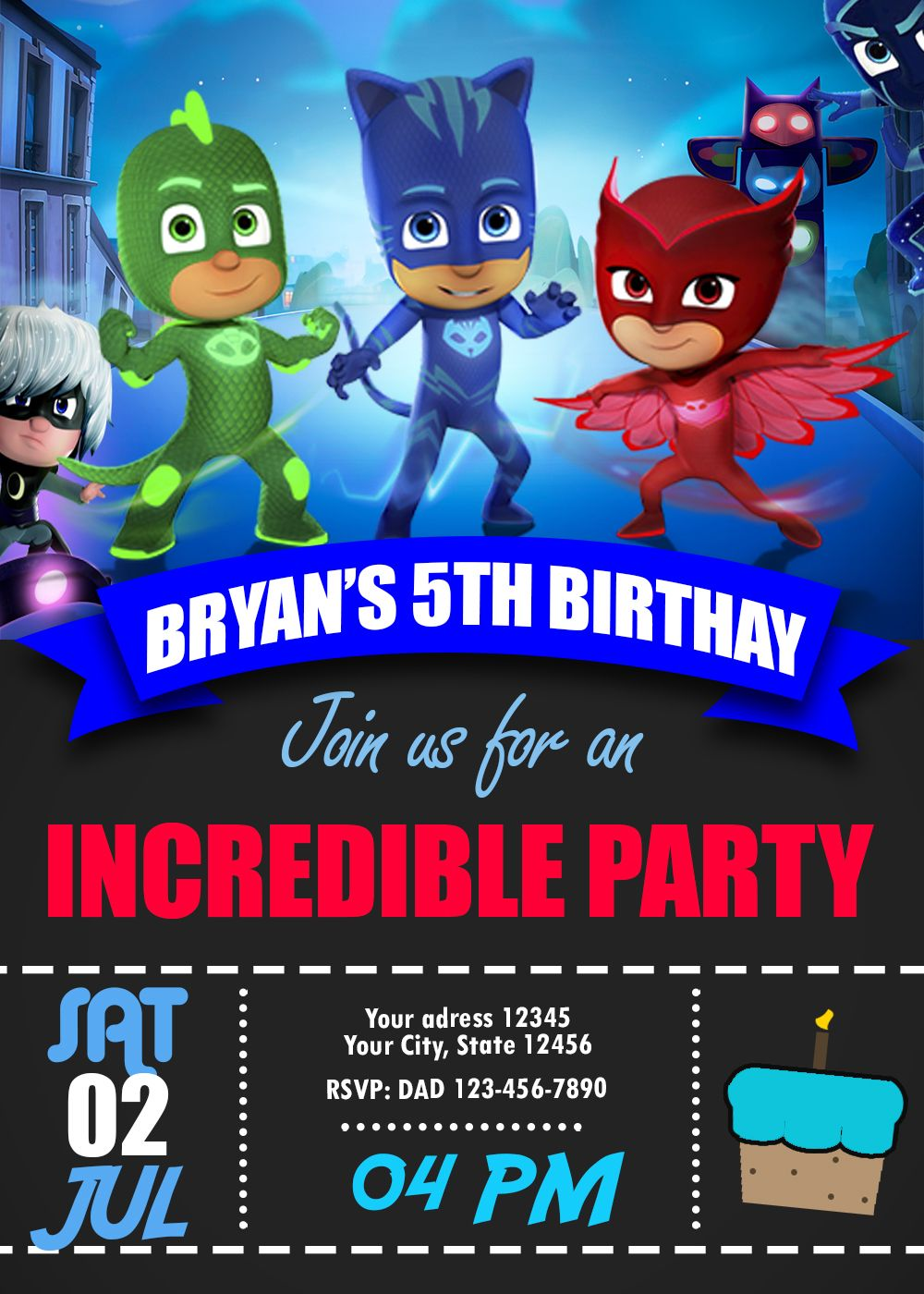 Pin on PJ MASKS BIRTHDAY PARTY INVITATION FOR BOY