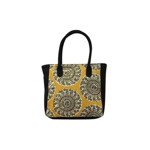 Novica Cotton handle handbag, Floral Lady