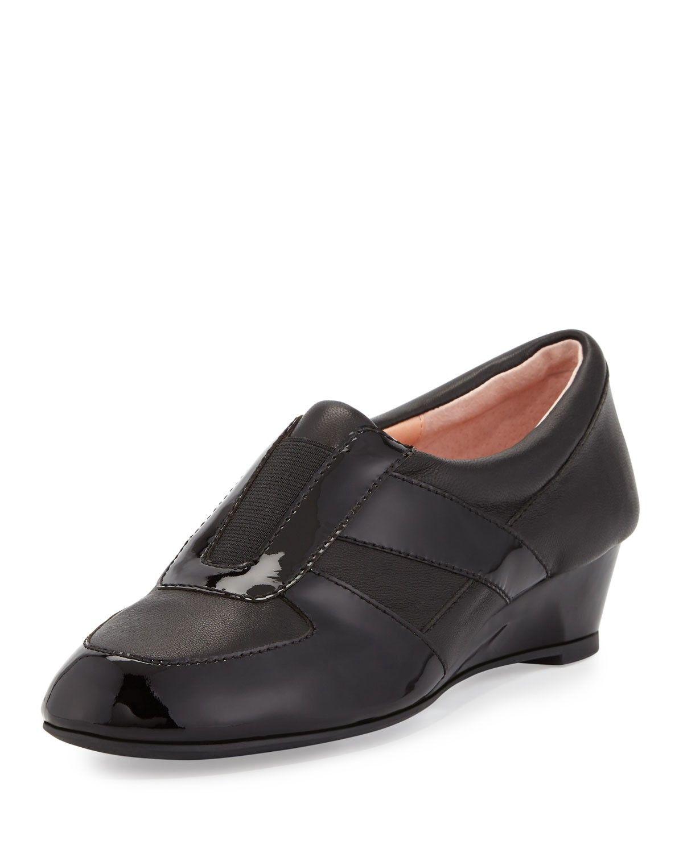 d891ae0c47f TARYN ROSE Pooms Traveler Patent-Trim Wedge Sneaker.  tarynrose  shoes